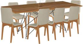 Conjunto Sala de Jantar 8 Cadeiras Mesa 200cm Teka/Champagne Lins Linho Bege - Gran Belo