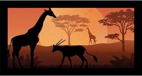 Quadro Alto Relevo Girafa Cabra Floresta Arvore Laranja40x75cm