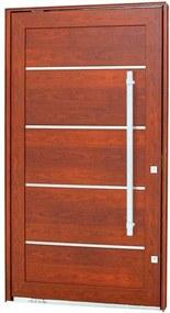 Porta Pivotante Lambris Horizontais com Friso e Puxador Alumínio Madeira 223,5x126,2x12cm Direita Aluminium - 72461096 - Sasazaki - Sasazaki