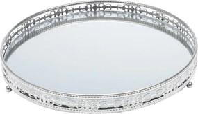 Bandeja De Ferro Com Espelho Bunch Prateada 25,5x25,5 Cm 27209 Prestige