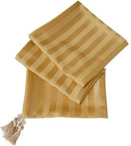 Peseira Arezo em Jacquard Brocado Listrado Dourado 195x65cm