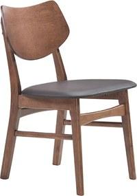 Cadeira Edna PVC Madeira Nogueira Preto Rivatti