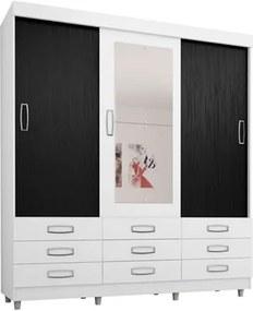 Guarda Roupa Casal 3 Portas de Correr com Espelho 4900 Branco/Preto - Araplac