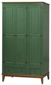 Armario Malibu 3 Portas e 2 Gavetas cor Verde com Amendoa 204 cm - 63588 Sun House