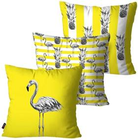 Kit com 3 Almofadas Pump UP Decorativas Amarelo Flamingos 45x45cm