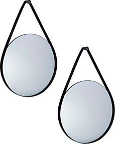 Kit 2 Espelho Redondo Suspenso Decorativo Porchat Com Tira de Metal Preto - Gran Belo