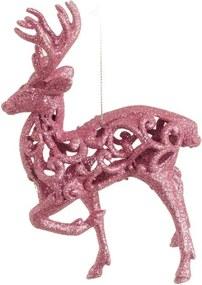 Rena Decoração Natalina Com Glitter 16 Cm Cor Rosa 1 Peça