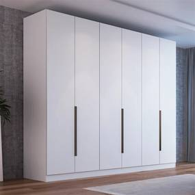 Guarda-roupa Velasques (L: 240cm) C/ 6 Portas 100% MDF Branco