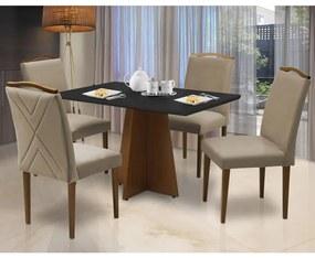 Conjunto Mesa Leticia 1,20 m Preto + 4 Cadeiras Lorena Veludo Cappuccino
