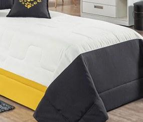 Cobre Leito Solteiro com Almofada Puppy Kit 04 Peças - Amarelo Amarelo