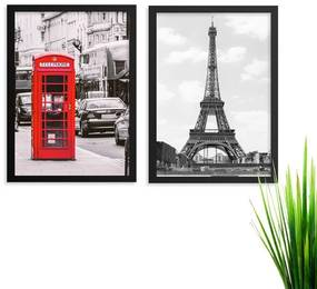 Kit  2 Quadros Paris Londres Los Quadros