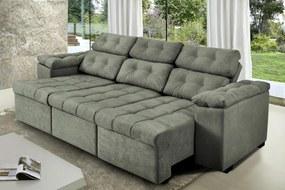 Sofa Itália 2,82 Mts Retrátil e Reclinavel Tecido Suede Cinza - Cama InBox