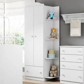 Guarda-roupa de Bebê 2 Portas Confete Plus Flex Brc/Colorido - Multimóveis