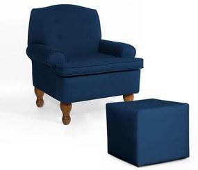 Conjunto Poltrona Vovó Lucy Decorativa + Puff Ana Suede Azul Marinho
