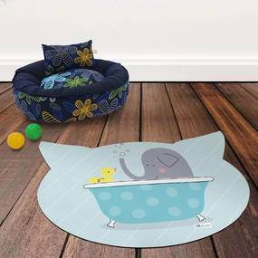 Tapete PET Mdecore Cabeça de Gato Elefante Azul54x39cm