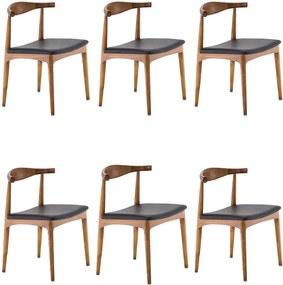 Kit 6 Cadeiras Decorativas Sala e Escritório Nami Madeira Bege - Gran Belo