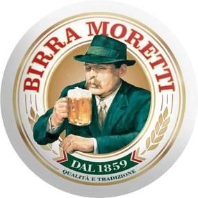 Disco de Metal Cerveja Italiana Birra Moretti Verde e Branco em Metal