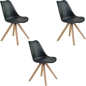 Kit 3 Cadeiras Decorativas Sala e Escritório Neo (PP) Preta- Gran Belo