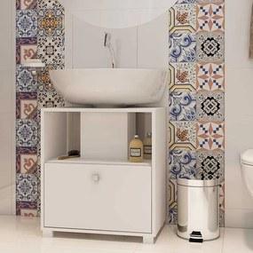 Balcão para Banheiro Multi 1 Porta 53cm Branco