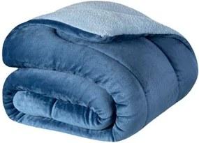 Cobertor Queen Lepper -Coberdrom Dupla Face Liso Prisma Azul