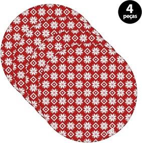 Sousplat Mdecore Natal Flocos de Neve 32x32cm Vermelho 4pçs