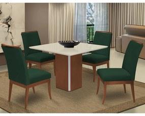 Conjunto Mesa Jade 1,04 m Off White + 4 Cadeiras Lana Aveludado Verde