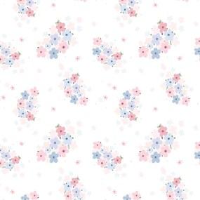 Papel de Parede Floral Rosa e Lilás Mini Infantil 2,70x0,57m