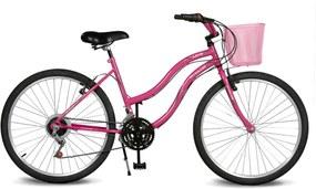 Bicicleta Kyklos Aro 26 Leme 6.5 Freio Manual com Cesta 21V Pink
