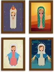 Quadros Religiosos Virgem Maria Mold Marrom 33x43 Kit 4un