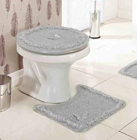 Jogo de Banheiro Delicato Cinza com 3 peças - Enxovais Ibitinga