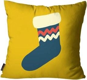 Capa para Almofada Mdecore Natal Meia Amarela 45x45cm