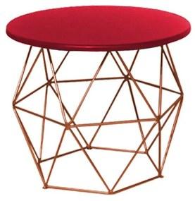 Mesa de Centro Decorativa Eiffel Tampo Vermelho Aramado Bronze