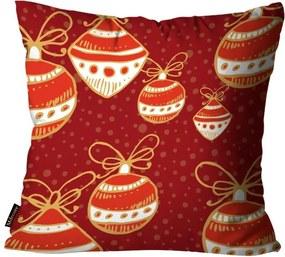 Capa para Almofada Mdecore Natal Bolas de Natal Vermelha45x45cm