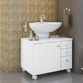 Gabinete de Banheiro 1 Porta 3 Gavetas e Rodízios - Branco