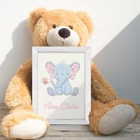 Quadro Infantil Nome Personalizado Elefantinho Fofo Moldura Branca