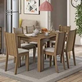 Conjunto Sala de Jantar Madesa Maris Mesa Tampo de Madeira com 6 Cadeiras Rustic/Pérola Cor:Rustic/Pérola