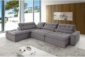 Sofá de Canto  8 Lugares Retrátil e Reclinável - Confortable Suede Azul