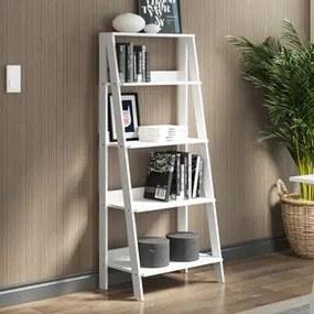 Estante Escada para Livros com 4 Prateleiras Madesa Branco Cor:Branco