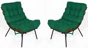 Kit 2 Poltrona Decorativa Costela Suede Verde Bandeira