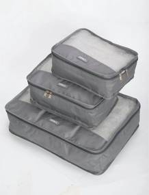 Organizador De Malas Kit Com 3 Peças IsiWay Cinza ACO1900126