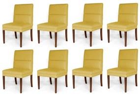 Kit 8 Cadeiras De Jantar Hermione Base Madeira Maciça Estofada Suede Amarelo