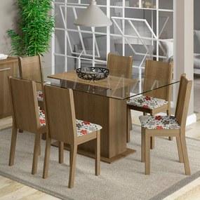 Conjunto Sala de Jantar Madesa Molly Mesa Tampo de Vidro com 6 Cadeiras Rustic/Floral Hibiscos Cor:Rustic/Floral Hibiscos
