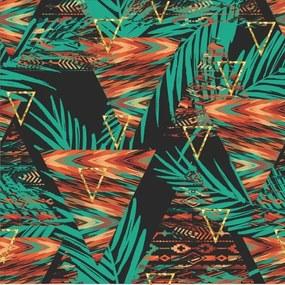 Papel De Parede Adesivo Geométrico Com Folhas (0,58m x 2,50m)