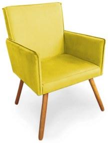 Poltrona Decorativa Vênus com Debrum Pés Palito Madeira Suede Amarelo - Sheep Estofados - Amarelo