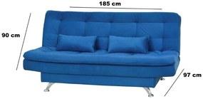 Sofá Cama Casal Reclinável Salomé - Azul suede amassado