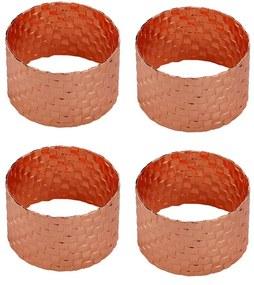 Jogo Anéis Para Guardanapos 4 Peças Metal Trançado Rose Gold 5x3cm 60721royal