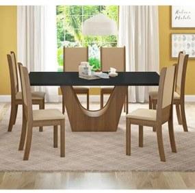 Conjunto Sala de Jantar Madesa Glaucia Mesa Tampo de Madeira com 6 Cadeiras Rustic/Preto/Sintético Bege Cor:Rustic/Preto/Sintético Bege
