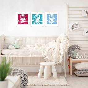 Kit 3 Quadros Decorativos MDF Infantil Coruja Colorido25x25cm