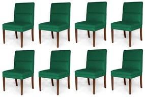 Kit 8 Cadeiras De Jantar Hermione Base Madeira Maciça Estofada Suede Verde Bandeira