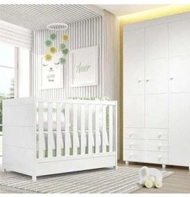 Quarto Bebê Branco Berço/Guarda-Roupa Premier Grão